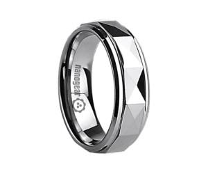 Гранёное кольцо из карбида вольфрама с гладкими краями «OSPLANORA»