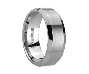 "Brushed tungsten carbide ring with beveled edges ""PENNIMBRA"""