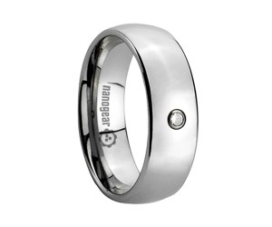 "Classic tungsten carbide ring with cubic zirconia stone ""MURETTUS"""