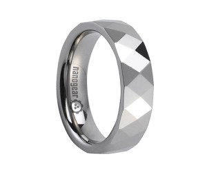 """Tungsten carbide ring with faces in two shapes """"DUFACI"""""""