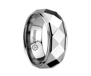 "Faceted tungsten carbide ring with raised middle ""ALLEMPI"""