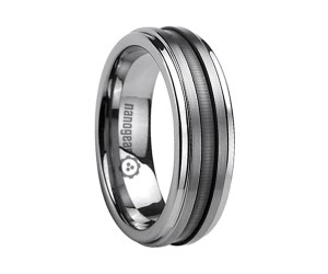 """Tungsten carbide ring with two brushed stripes """"SEPLA"""""""