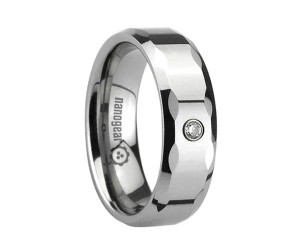 """Flat tungsten carbide ring with faces and cubic zirconia stone """"LIGORIS"""""""