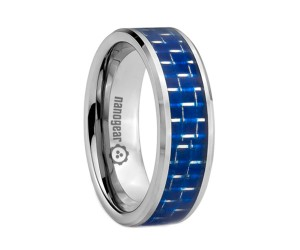 "Flat tungsten carbide ring with blue carbon ""CARMATI"""