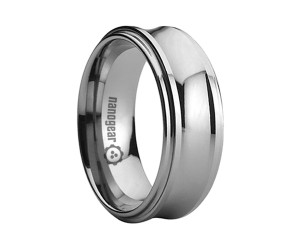 "Concave tungsten carbide ring with flat edges ""CUBRIMA"""