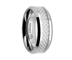 "Flat tungsten carbide ring with white carbon ""VENALIS"""