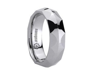 """Tungsten carbide ring with semicircular faces on the sides """"SIMIRA"""""""