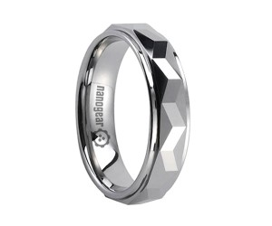 "Faceted tungsten carbide ring with plain edges ""PLANTIS"""
