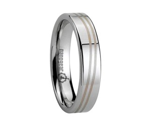 "Classic flat tungsten carbide ring with engraving ""ATRIS"""
