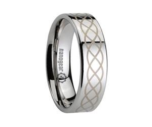 "Flat tungsten carbide ring with braided pattern ""NOTREX"""