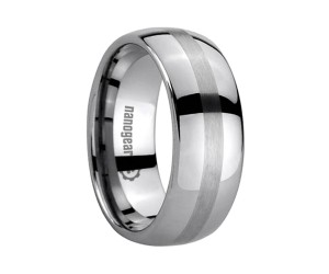 """Classic tungsten carbide ring with brushed stripe """"STARBER"""""""