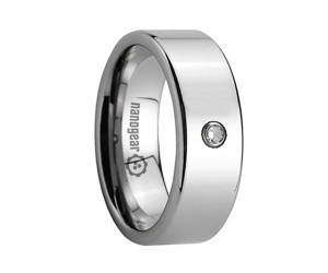 """Classic flat tungsten carbide ring with cubic zirconia stone """"FRAMIS"""""""
