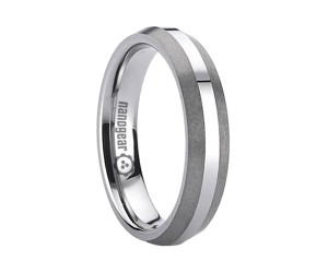 """Tungsten carbide ring with brushed edges """"TAMIRA"""""""