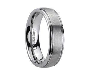 """Brushed tungsten carbide ring with grooves along the edges """"PROMATIS"""""""