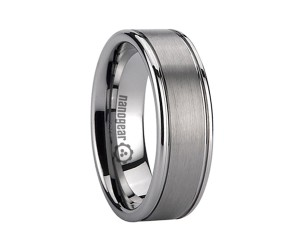 """Flat brushed tungsten carbide ring with two grooves """"CREVIS"""""""