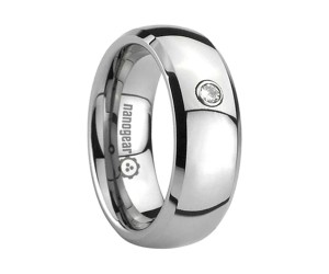"""Tungsten carbide ring with cubic zirconia stone and beveled edges """"TEMPRIQ"""""""