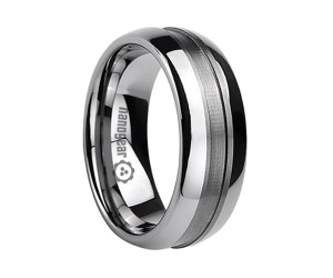 """Classic tungsten carbide ring with groove in the middle """"XARIS"""""""