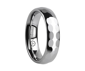 "Tungsten carbide ring with oval faces in two rows ""QUERLI"""