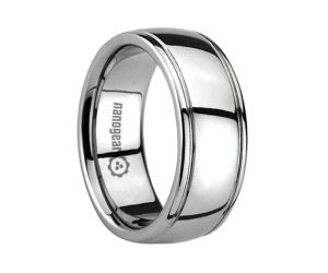 """Classic tungsten carbide ring with grooves along the edges """"HARVIL"""""""