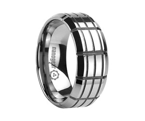 """Flat tungsten carbide ring with grooves """"OSTERI"""""""