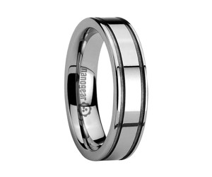 """Flat tungsten carbide ring with grooves along the edges """"EMERQUE"""""""