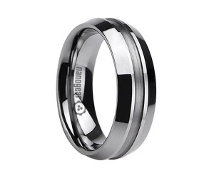 "Tungsten carbide ring with wide groove in the middle ""KRIMEX"""