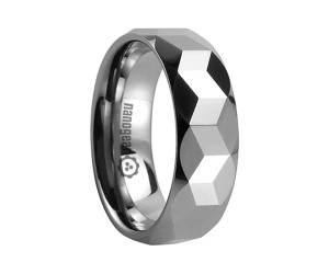 "Tungsten carbide ring with faces in different shapes ""ILLAQUIS"""