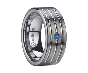 "Brushed tungsten carbide ring with grooves and cubic zirconia stone ""HAMRES"""