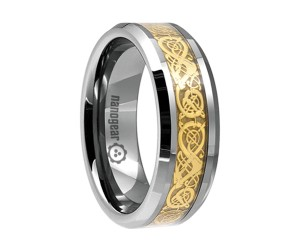 """Tungsten carbide ring with gold dragon inlay """"GOLD DRAGON"""""""