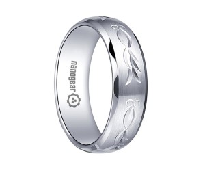 "Brushed white tungsten carbide ring with hand-carving ""ORINOX"""