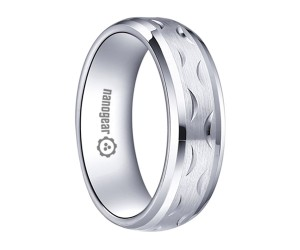 """Brushed white tungsten carbide ring with hand-carving """"FARRO"""""""