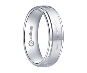 "Brushed white tungsten carbide ring with raised middle ""QUORI"""