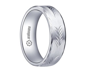 "Brushed white tungsten carbide ring with faces and hand-carving ""SKORY"""