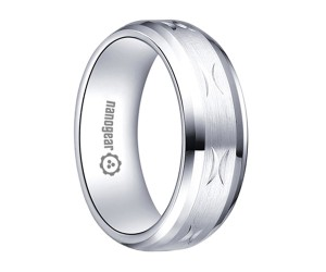 "Brushed white tungsten carbide ring with hand-carving ""LUMRIA"""