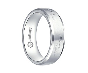 "Flat brushed white tungsten carbide ring with hand-carving ""IMERA"""