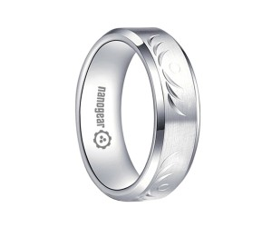 "Brushed white tungsten carbide ring with hand-carving ""SOTERY"""