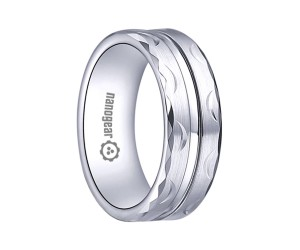 "White tungsten carbide ring with groove and hand-carving ""KEMRI"""