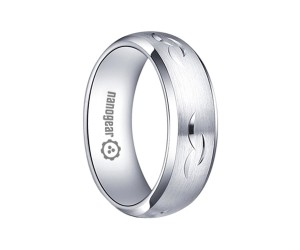 """Hand-carved brushed white tungsten carbide ring """"ESQUEMARIS"""""""