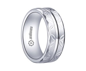 """Hand-carved white tungsten carbide ring with groove and faces """"SAMRIS"""""""