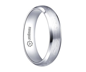 """Domed white tungsten carbide ring with hand-carving """"DASTRIT"""""""