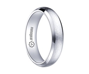 "Brushed domed white tungsten carbide ring ""ILLEMOTRES"""