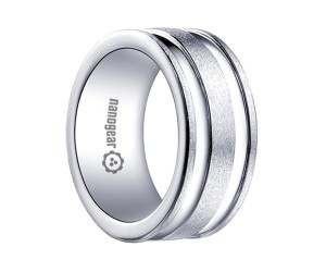 "Brushed white tungsten carbide ring with two grooves ""CREMORT"""