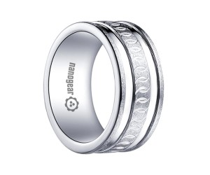 """White tungsten carbide ring with two grooves and hand-carving """"IMPALS"""""""