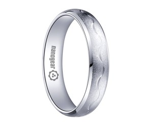 """Brushed white tungsten carbide ring with hand-carving """"SACRESS"""""""
