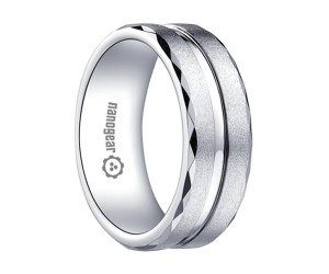 "Brushed white tungsten carbide ring with faces and groove ""VERIS"""