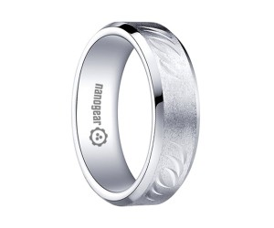 """Brushed white tungsten carbide ring with hand-carving """"QUELTOR"""""""
