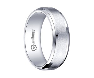 """White tungsten carbide ring with brushed middle """"REMASO"""""""