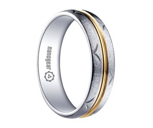 """Brushed white tungsten carbide ring with golden middle """"HELOR"""""""