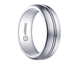 "Brushed white tungsten carbide ring with groove ""KATARES"""