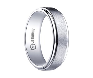 "White tungsten carbide ring with raised brushed middle ""ILEAR"""